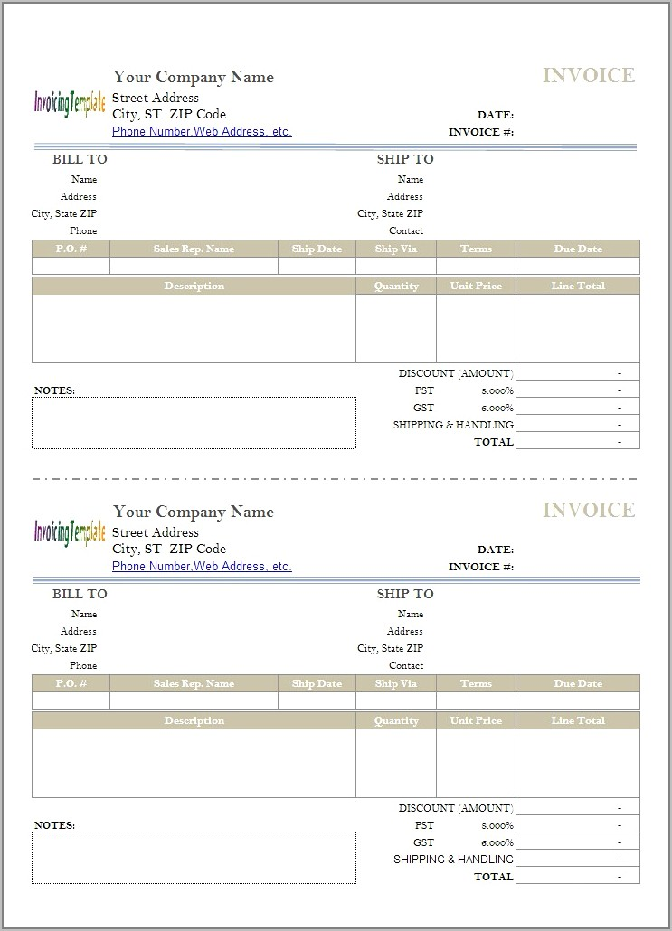 Shipping Invoice Template Free