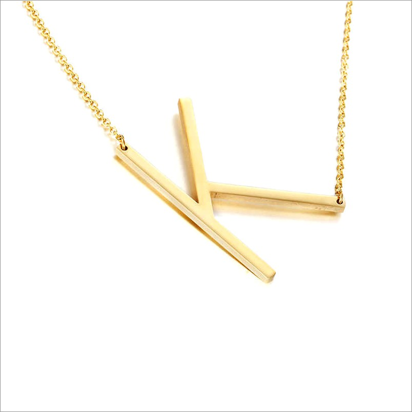 Sideways Letter Necklace Gold