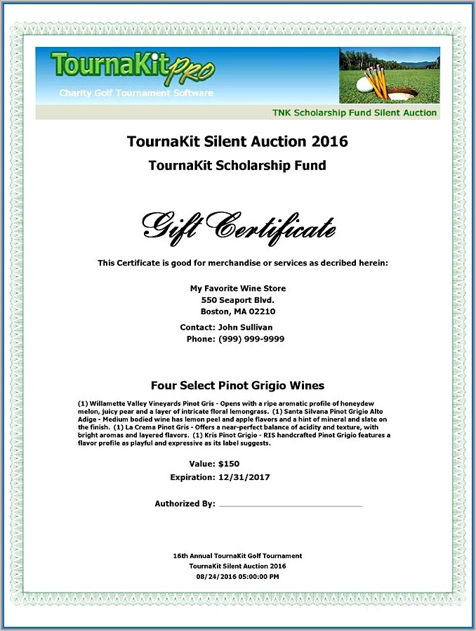 Silent Auction Brochure Templates