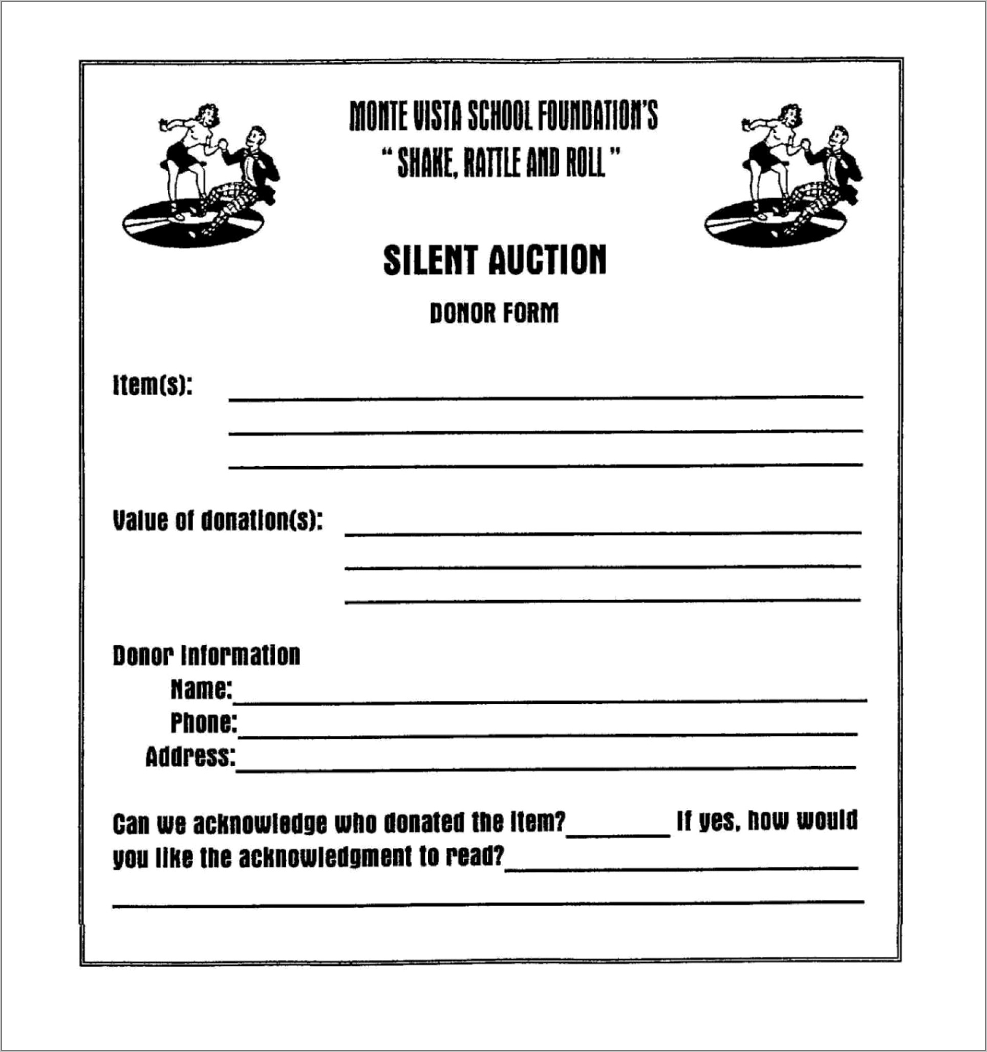 Silent Auction Form Template Free