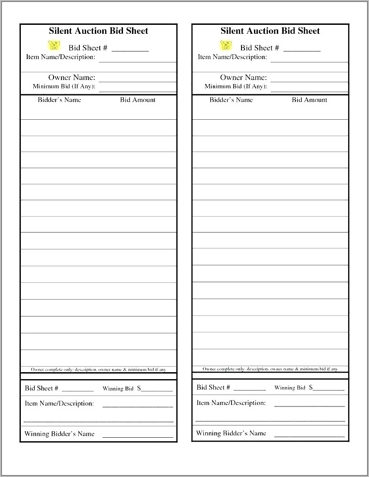 Silent Auction Program Template