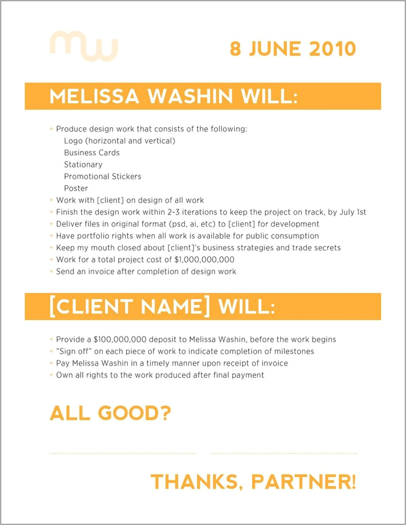 Simple Freelance Graphic Design Contract Template