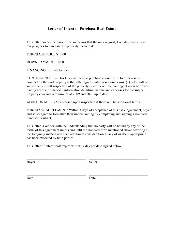 Simple Letter Of Intent To Purchase Property