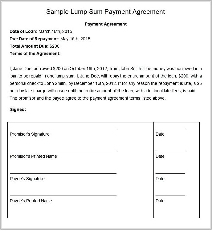 Simple Payment Agreement Template Pdf