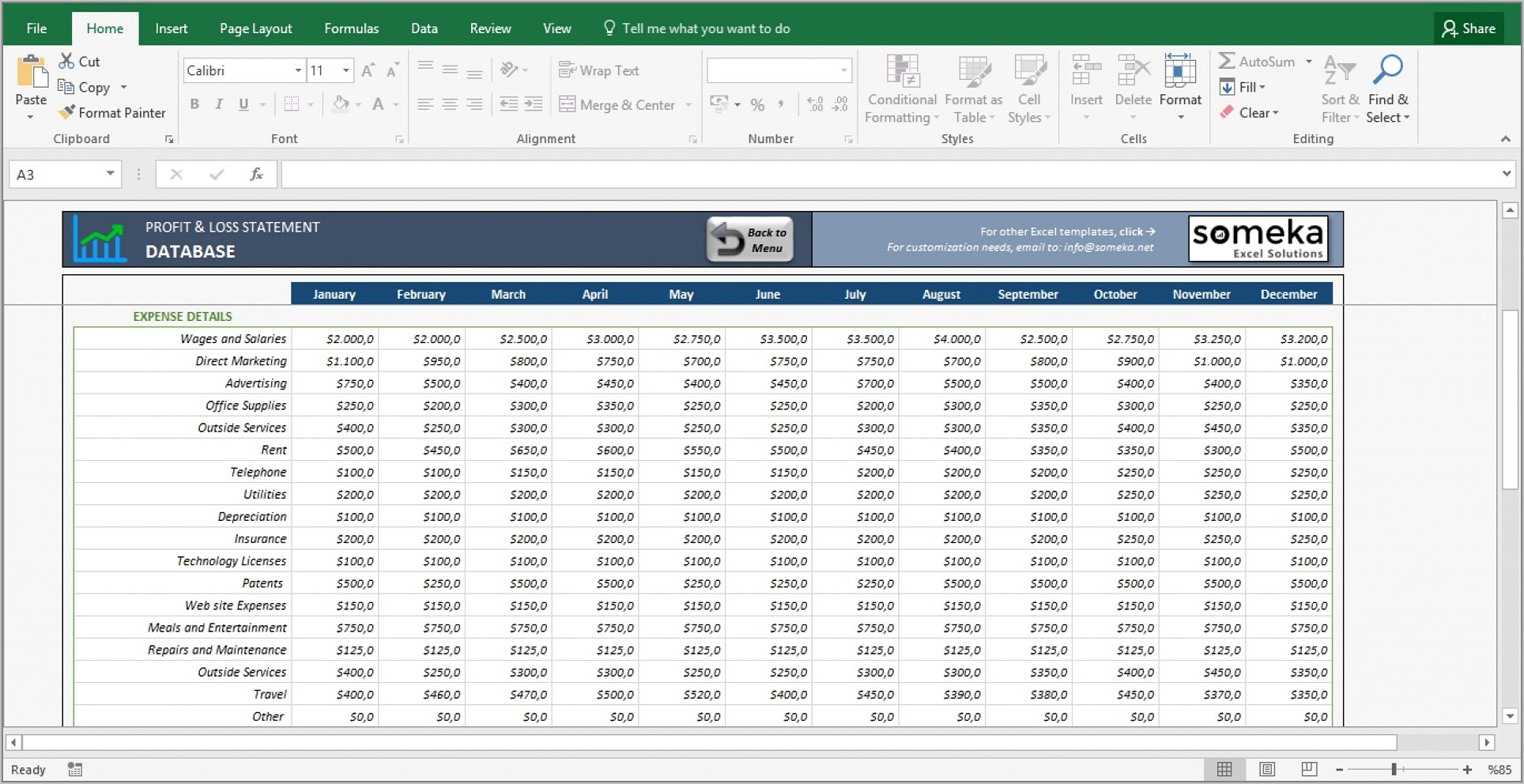 Simple Profit And Loss Spreadsheet Free
