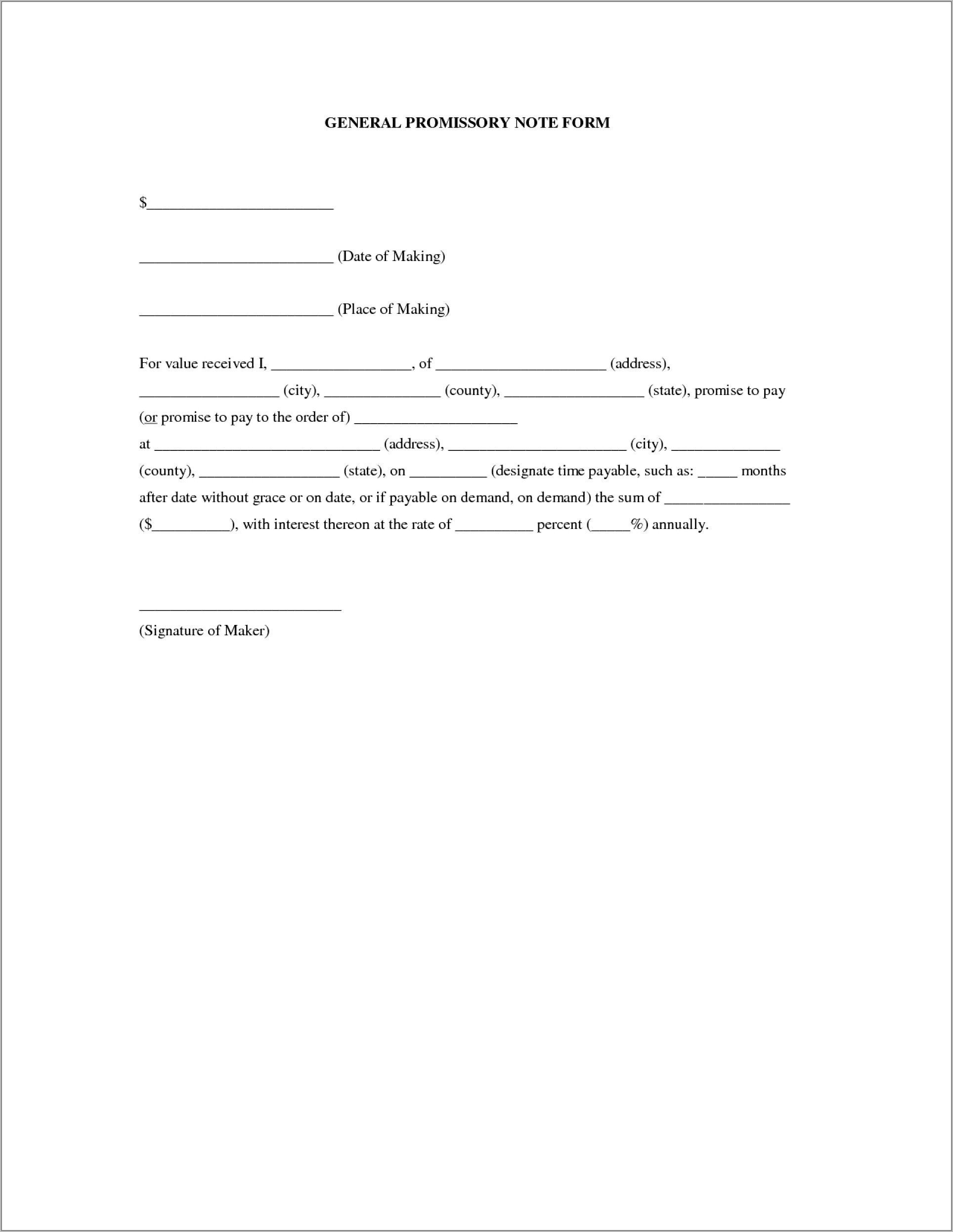 Simple Promissory Note Example Template