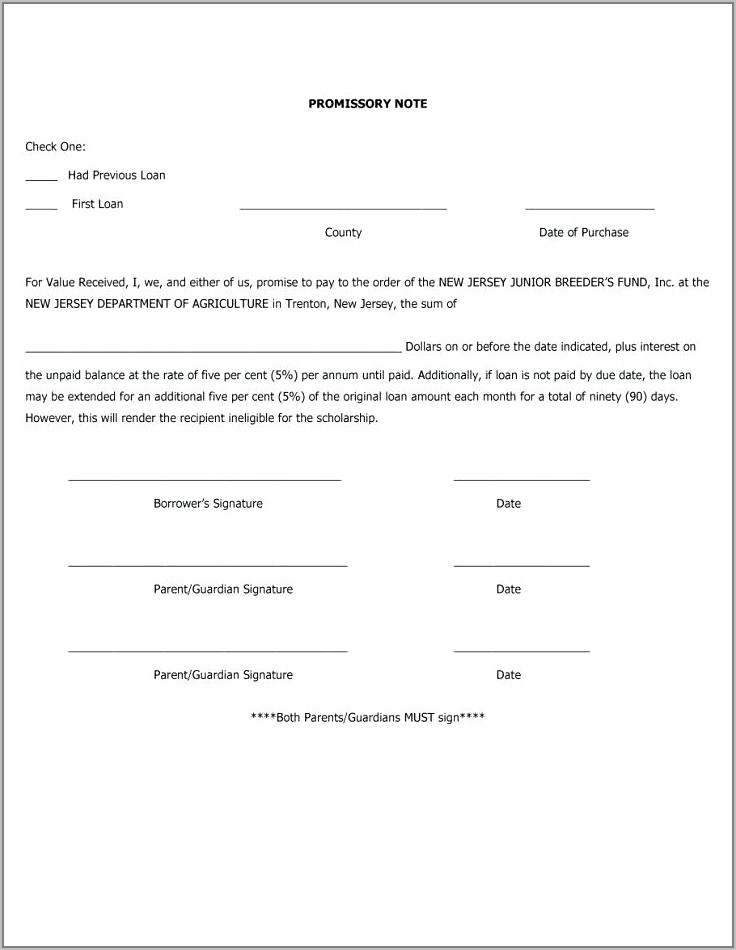 Simple Promissory Note No Interest Template