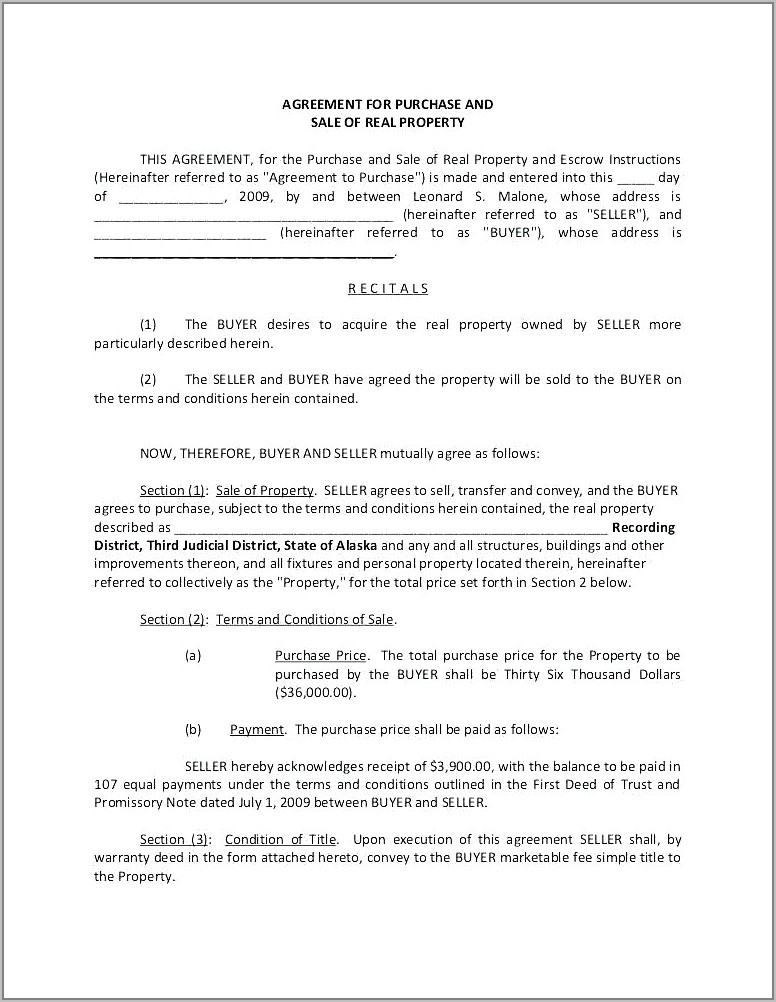 Simple Real Estate Sales Contract Template