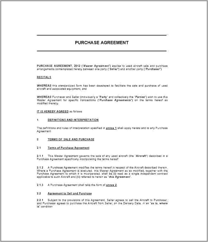 Simple Sales And Purchase Agreement Sample
