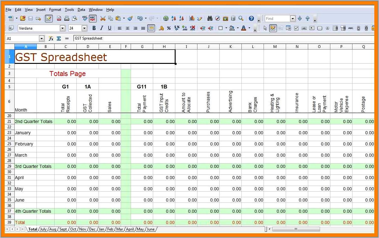 Small Business Accounts Spreadsheet Example