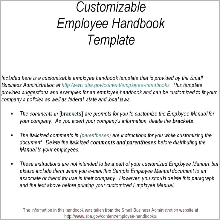 Small Business Employee Manual Template Free