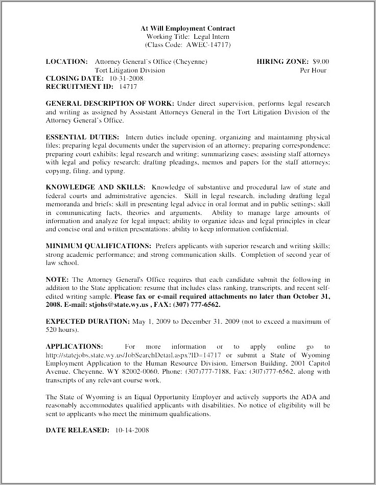 Small Business Employment Contract Example
