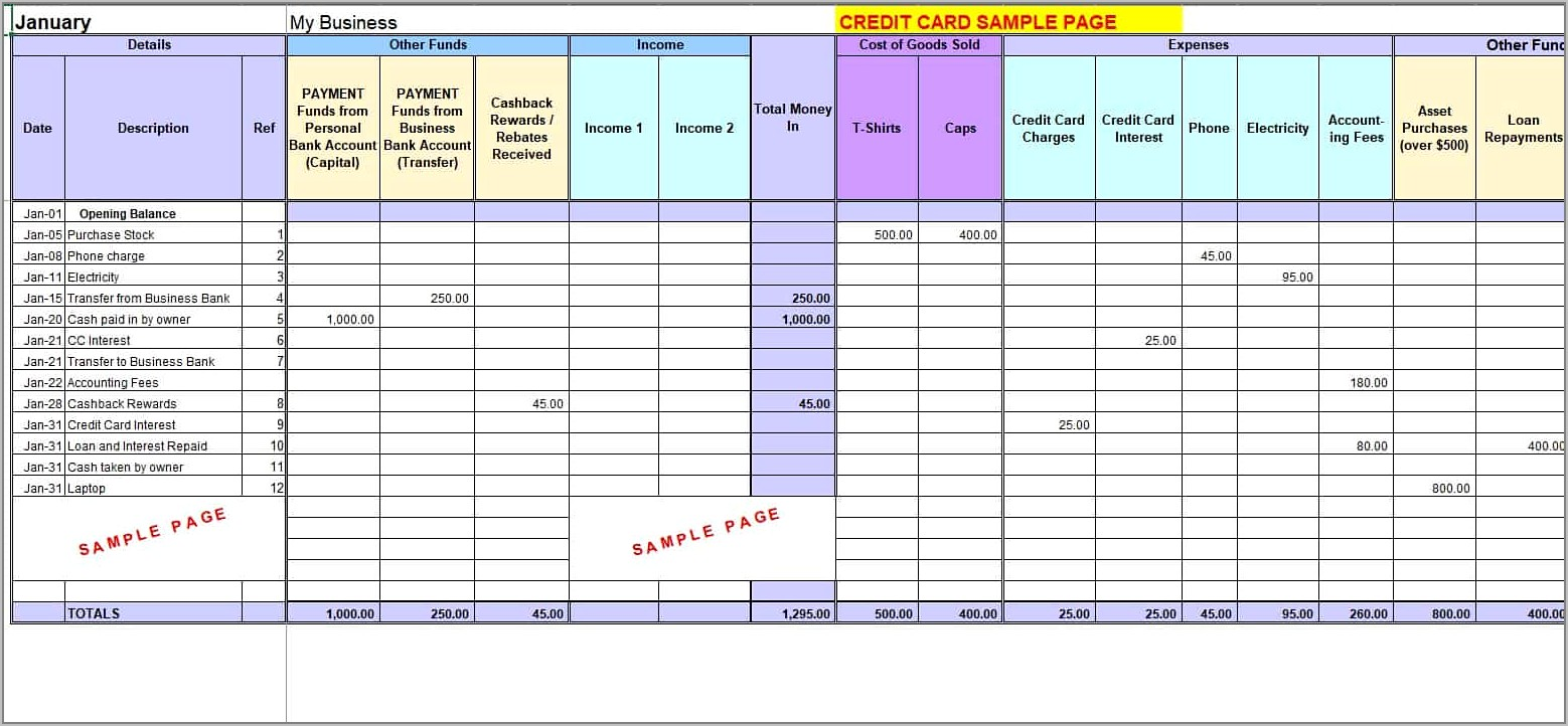 Small Business Expenses Income Spreadsheet