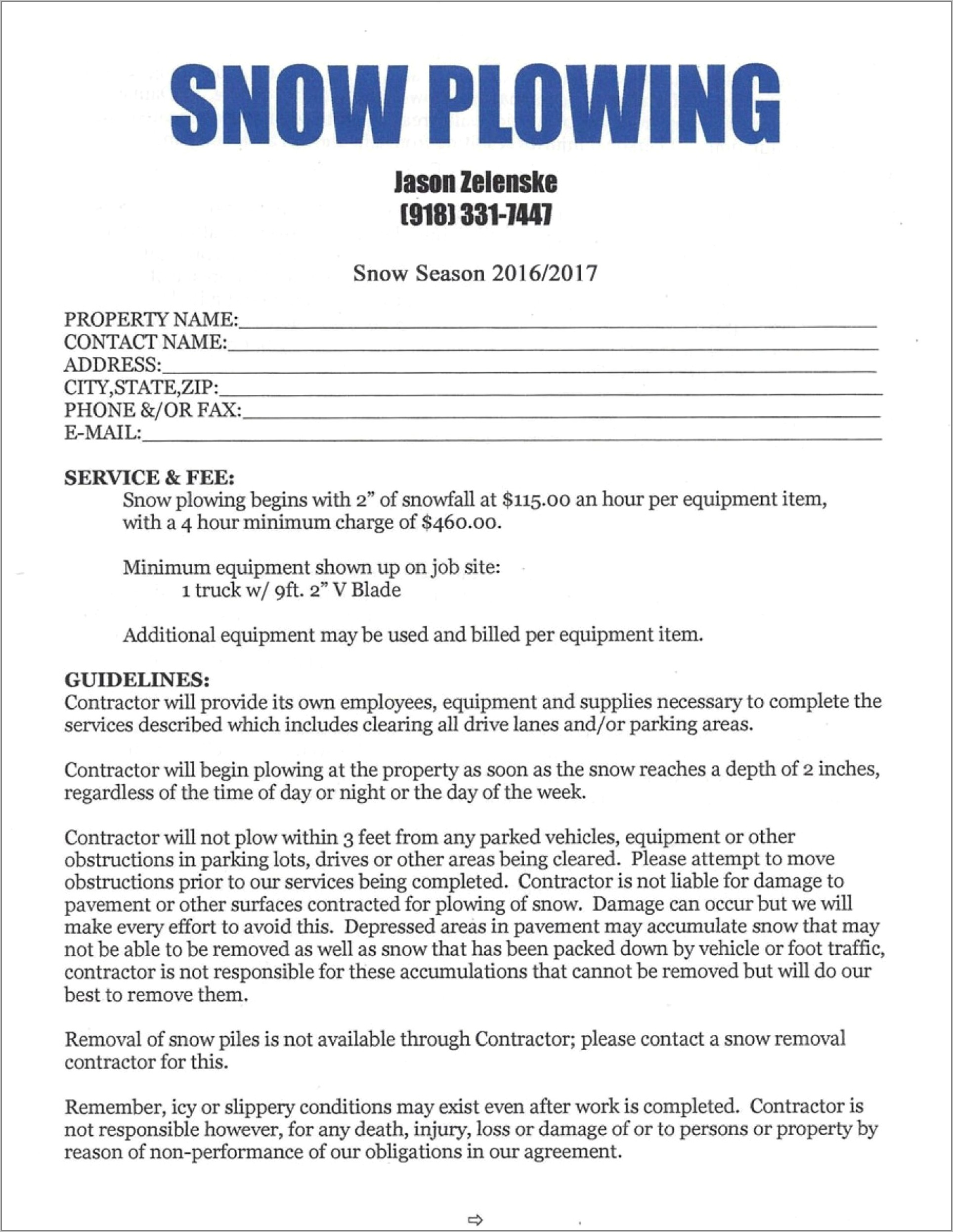 Snow Plow Contract Template Free