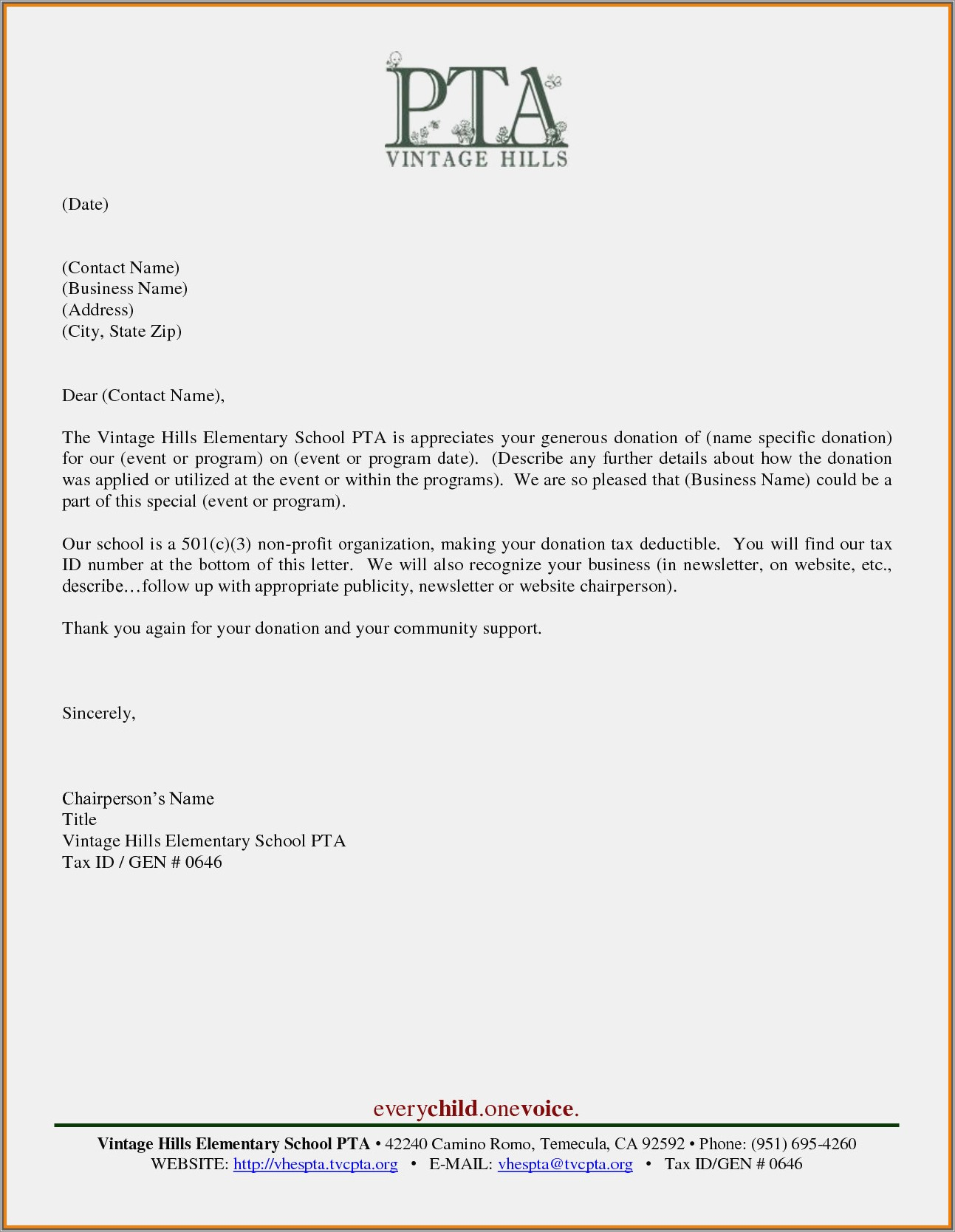 Solicitation Letter For Prize Donations