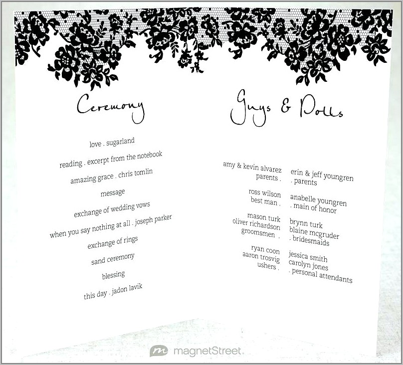 South African Traditional Wedding Program Templates