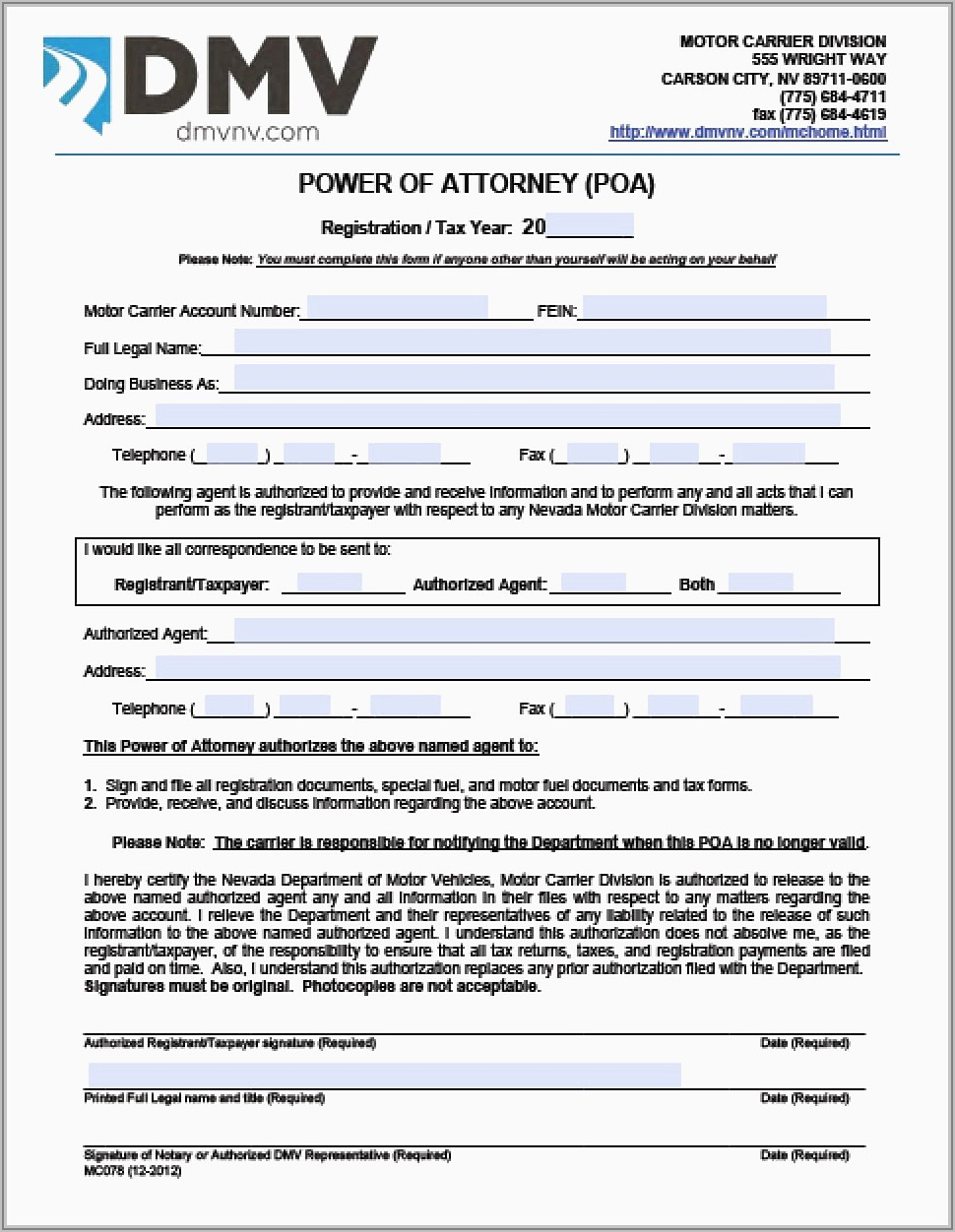 Special Power Of Attorney Sample