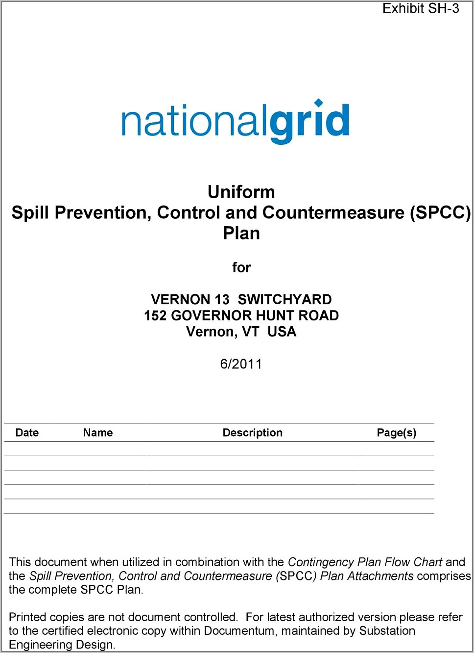 Spill Prevention Control And Countermeasure Plan Example