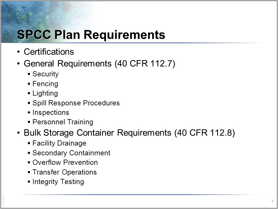 Spill Prevention Control And Countermeasure Plan Template