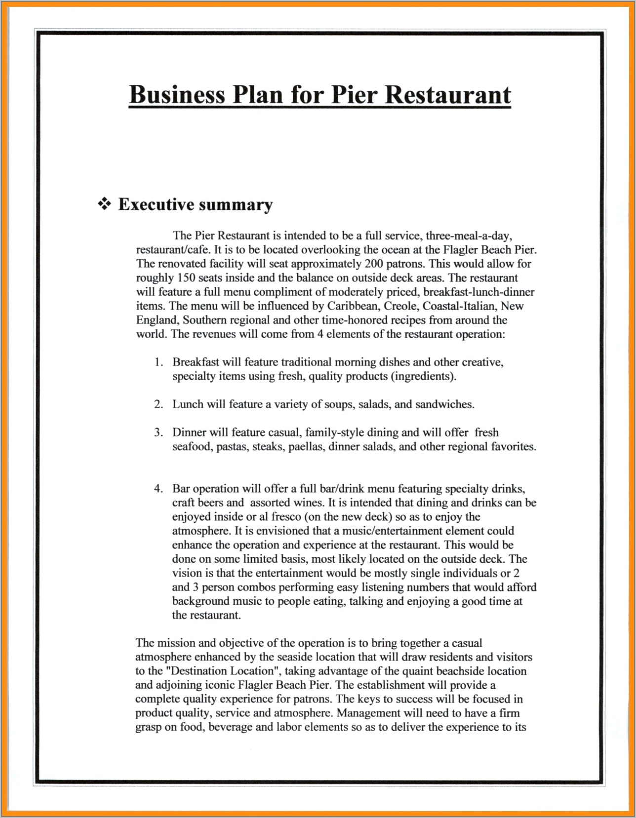 Sports Bar And Grill Business Plan Sample