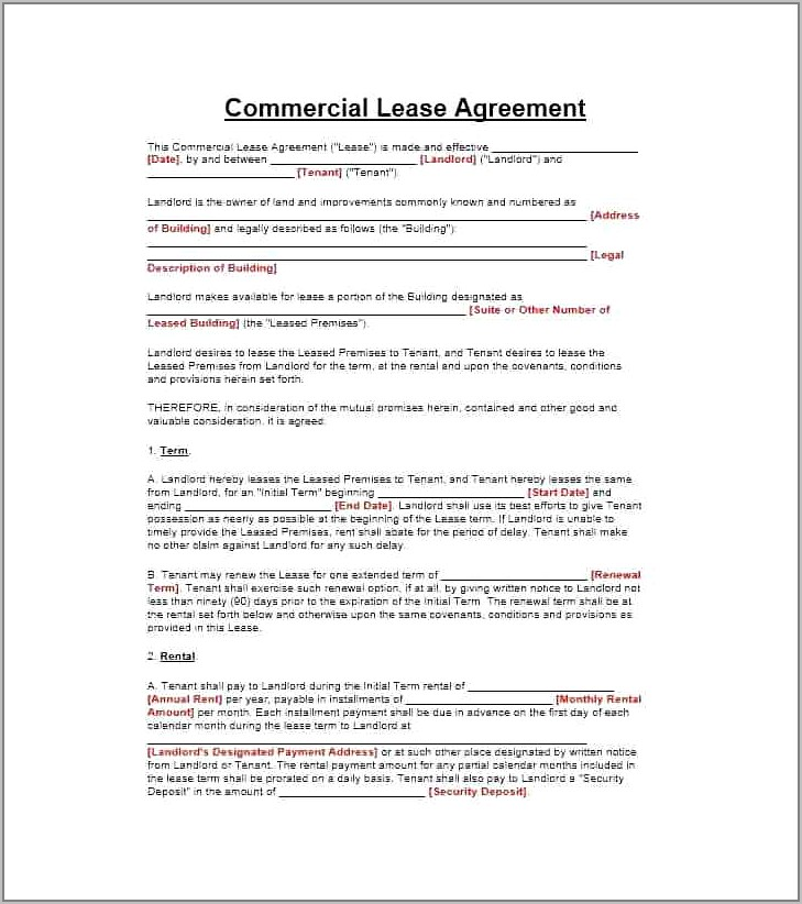 Standard Commercial Lease Agreement Template Uk