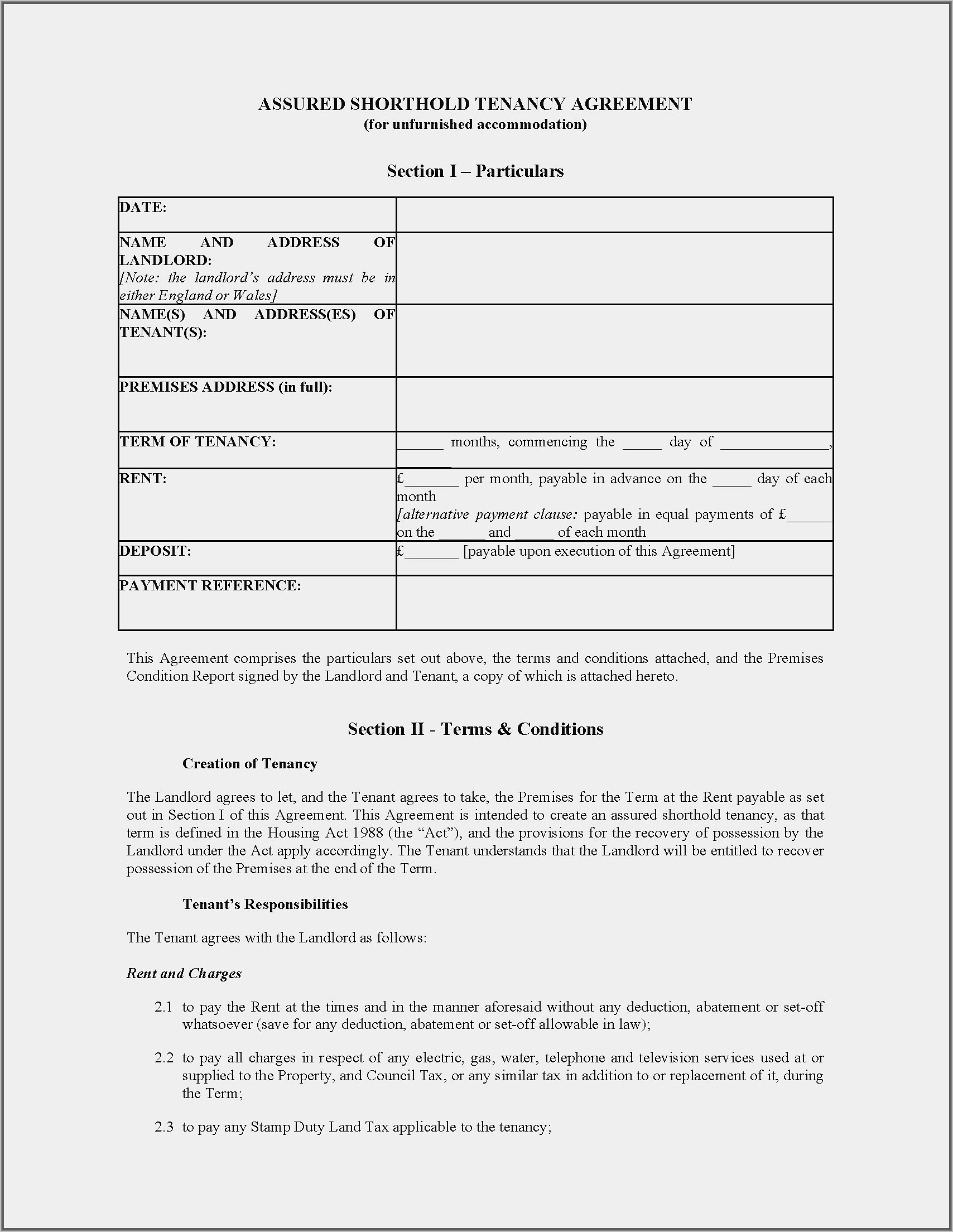 Standard Form Residential Tenancy Agreement Example