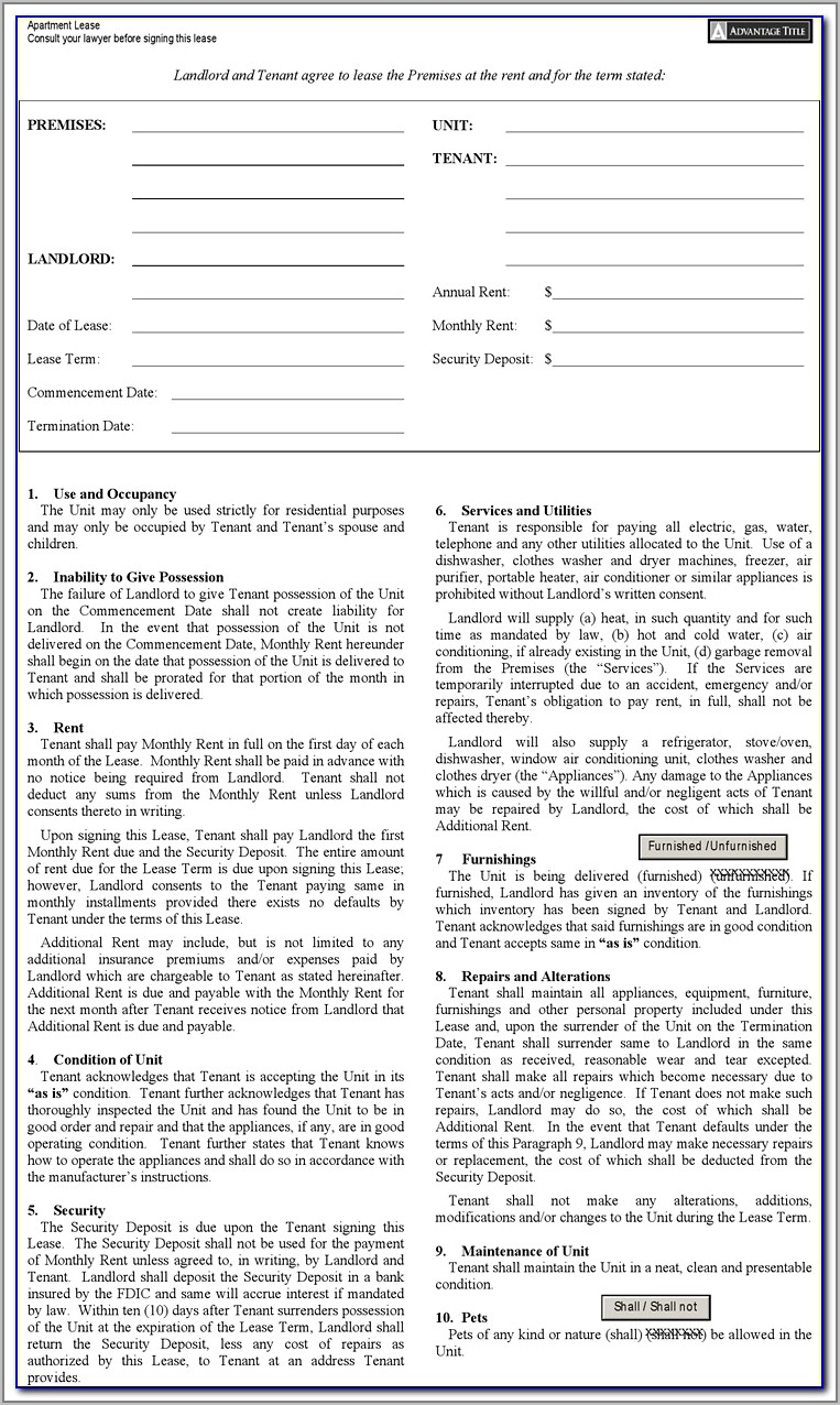 Standard Lease Form Nyc