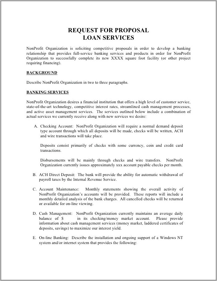 Standard Request For Proposal Template