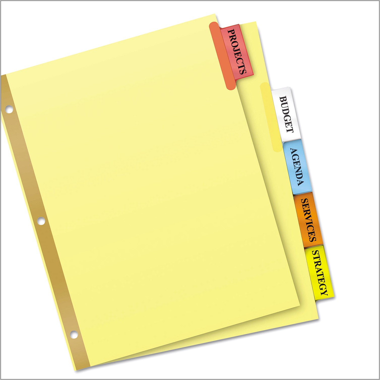Staples 5 Large Tab Insertable Dividers Template