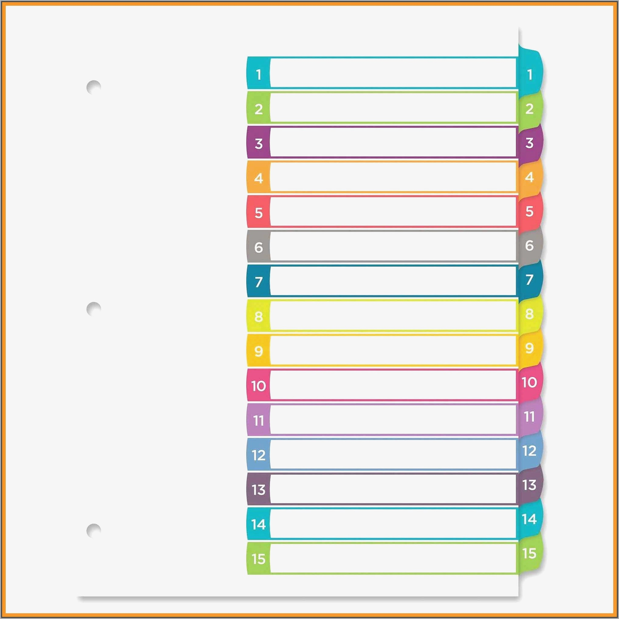 Staples 5 Tab Divider Template