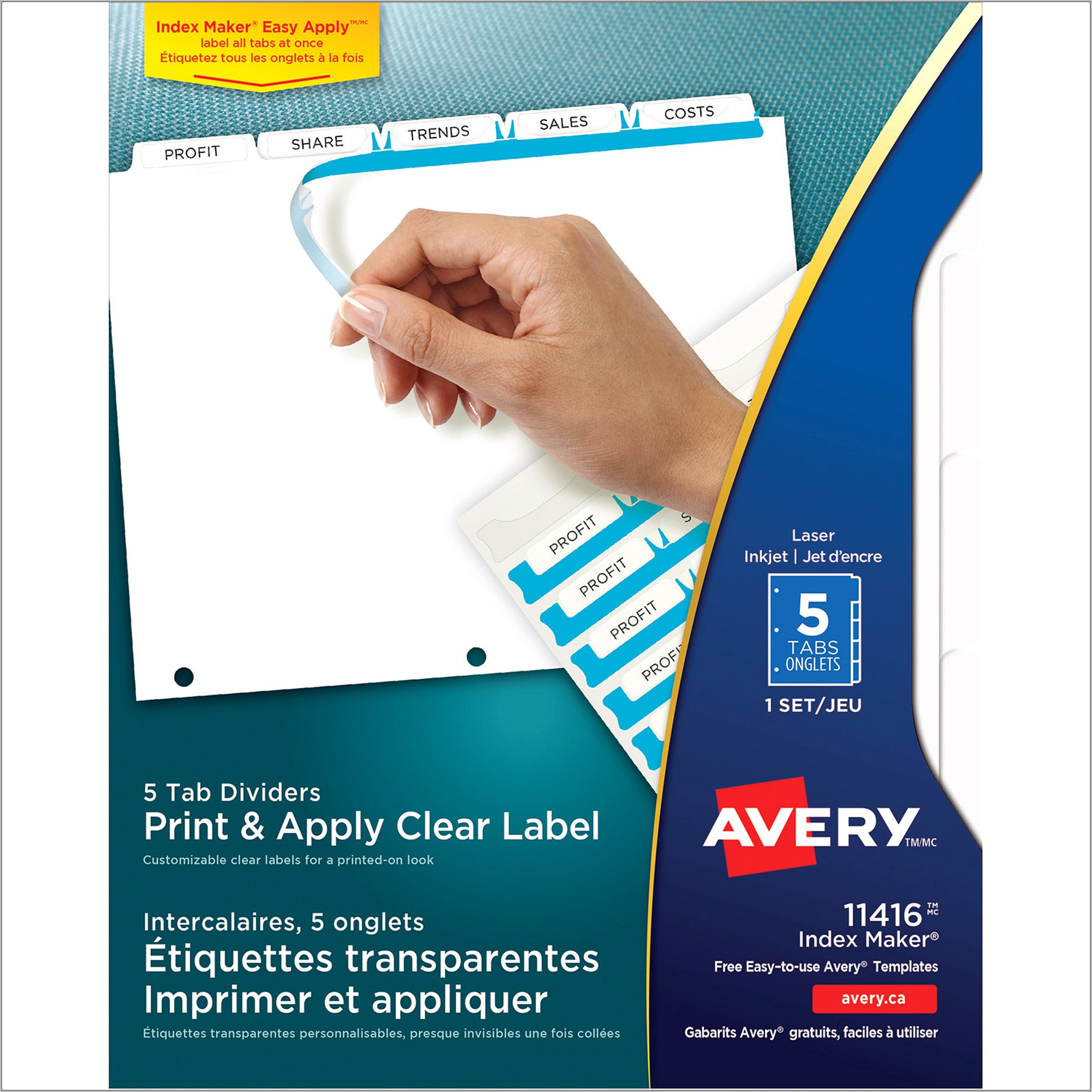 Staples Clear 5 Tab Insertable Dividers Template