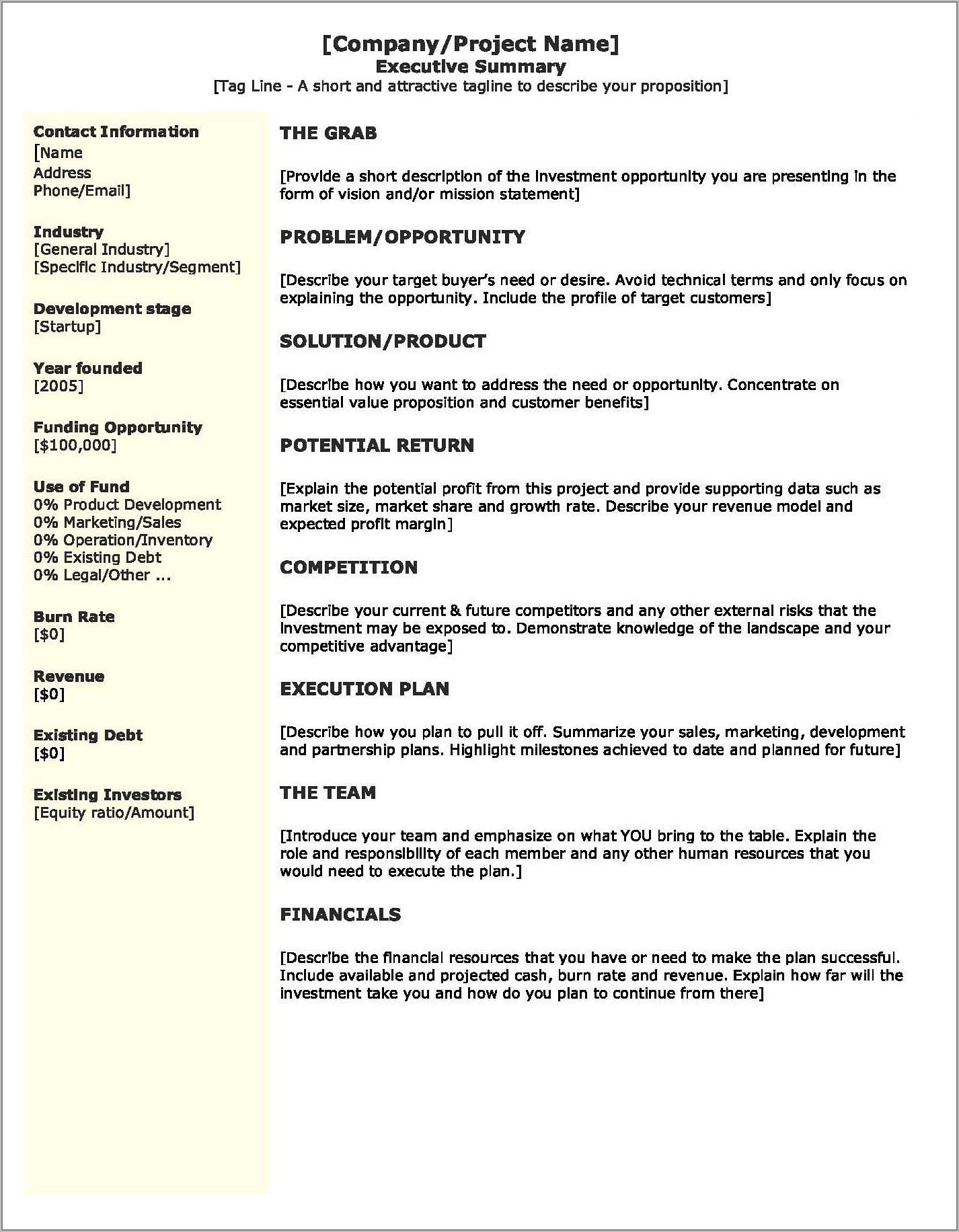 Startup Business Plan Examples Pdf