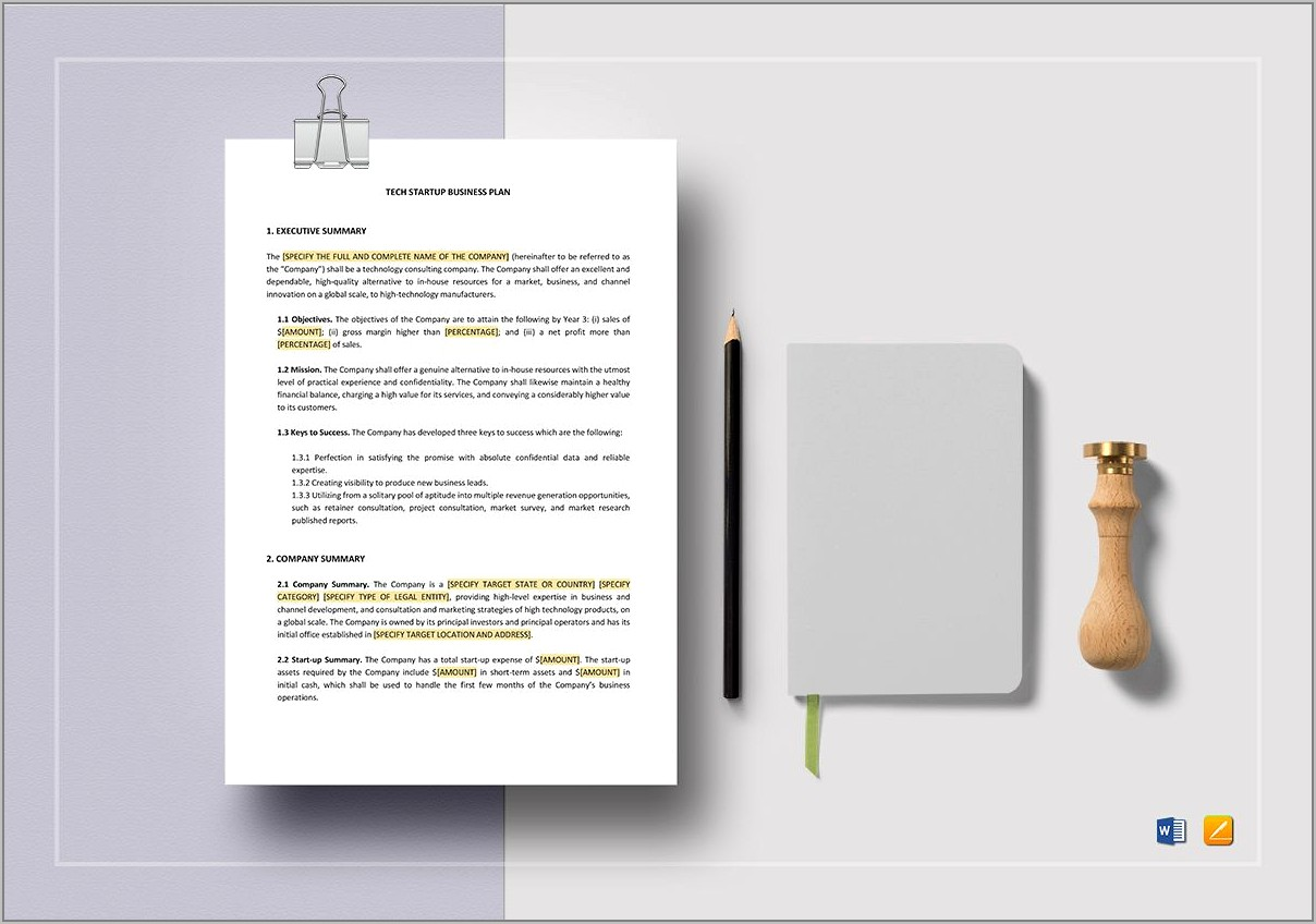 Startup Business Plan Template Word