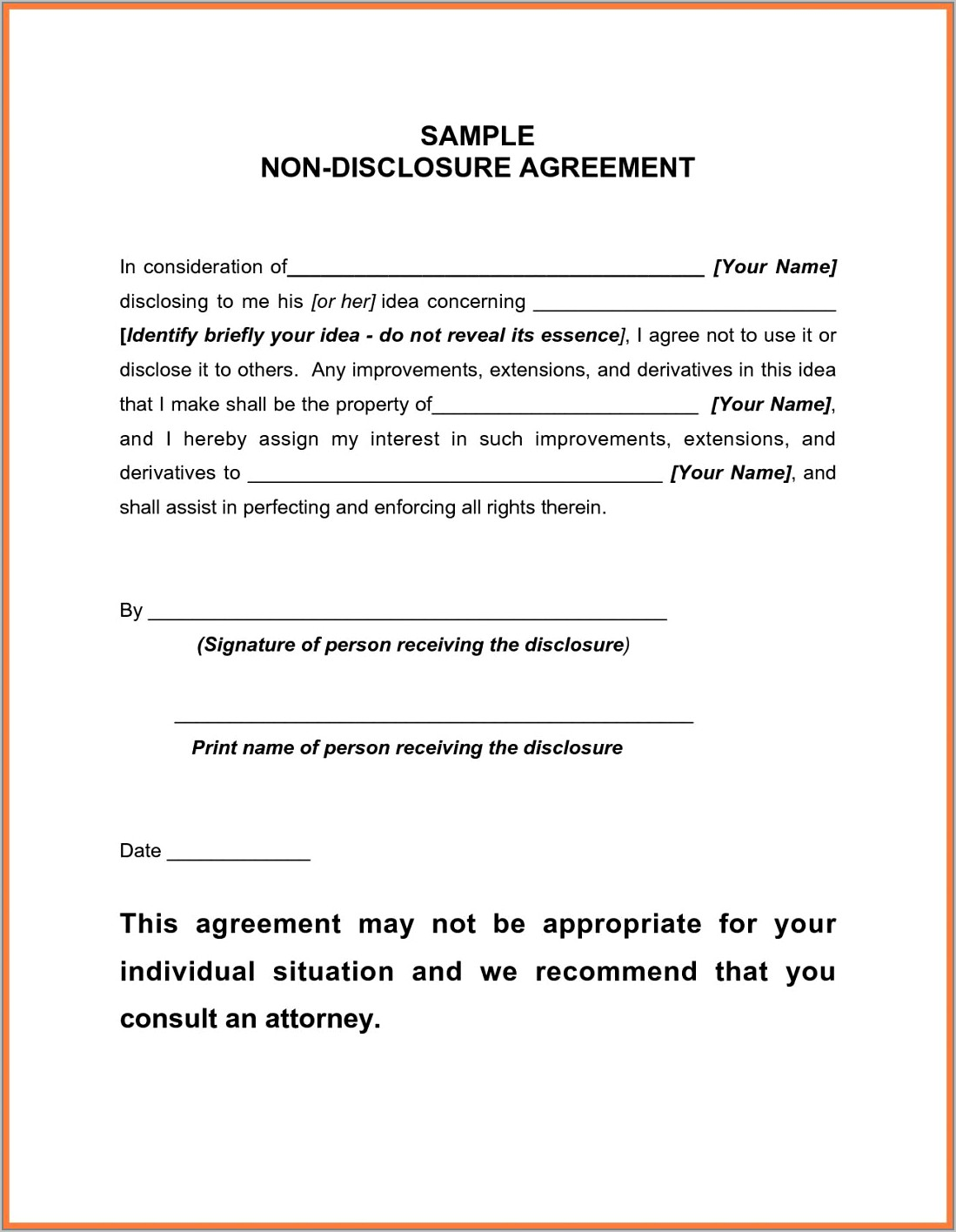 Statement Of Confidentiality Template