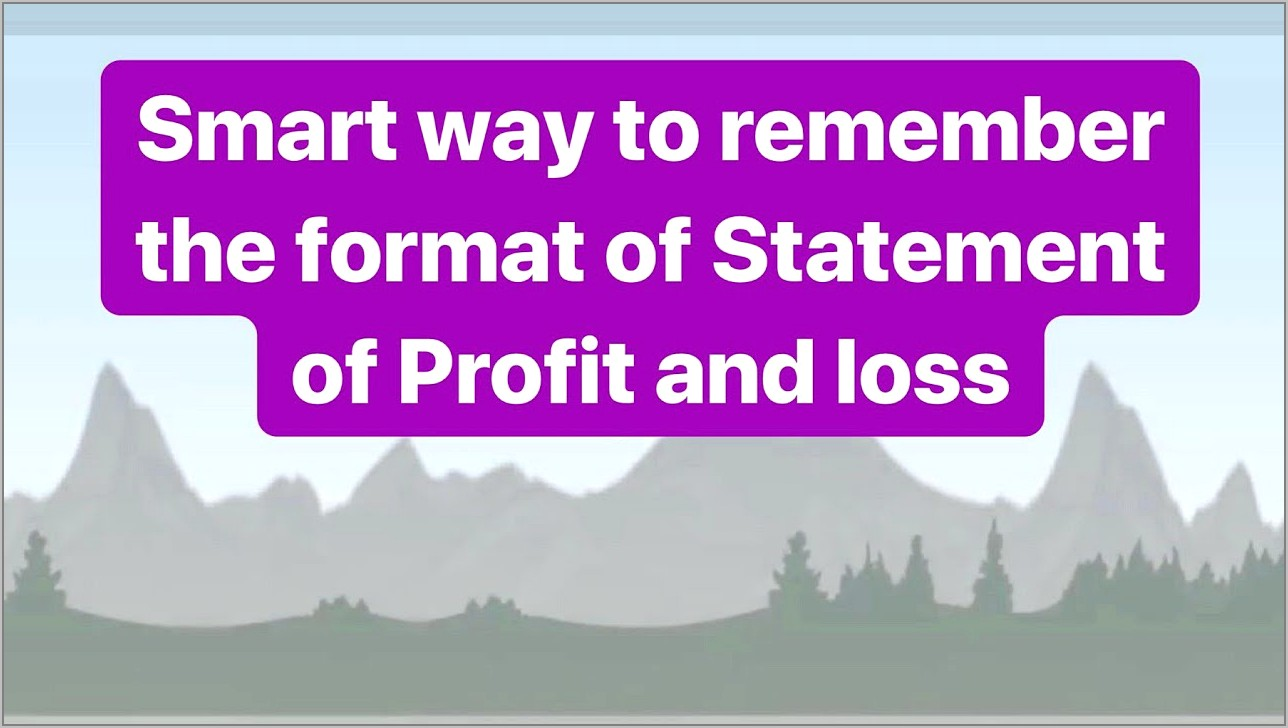 Statement Of Profit And Loss Format