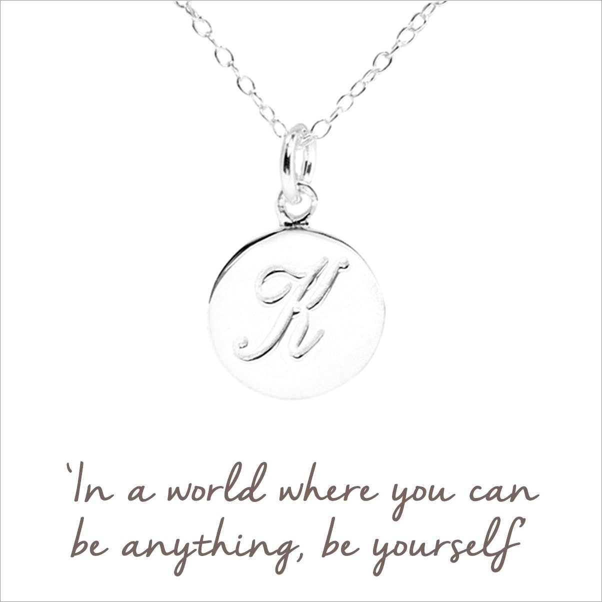 Sterling Silver Initial Necklace Letter