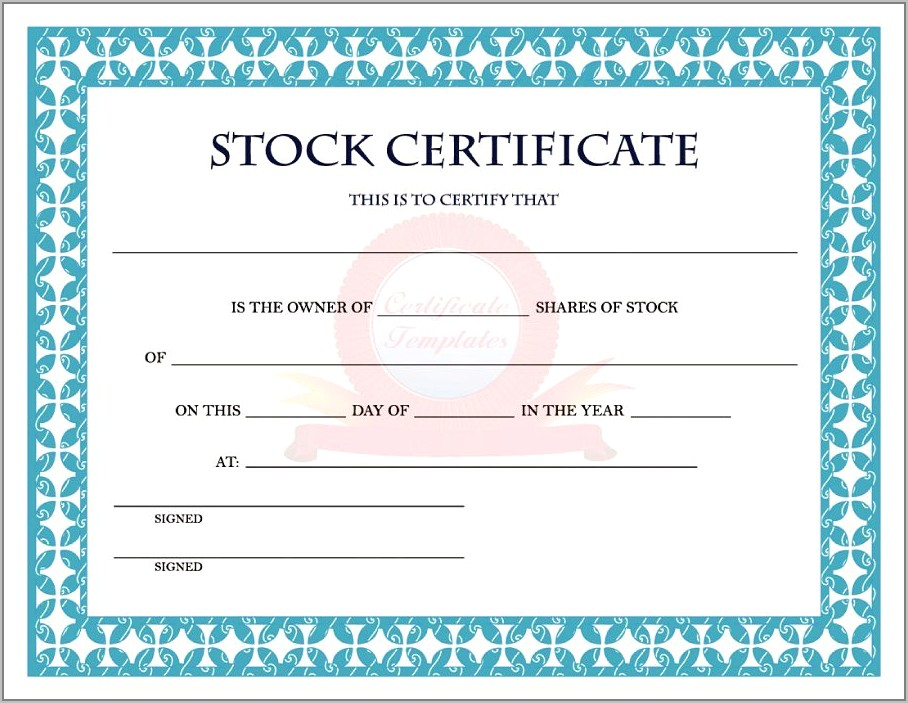 Stock Certificate Template Word Free