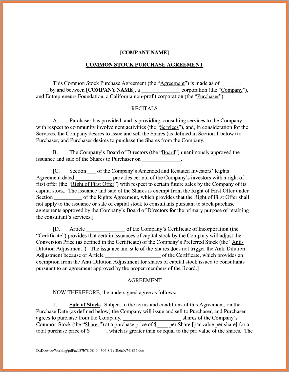 Stock Purchase Agreement Template Doc