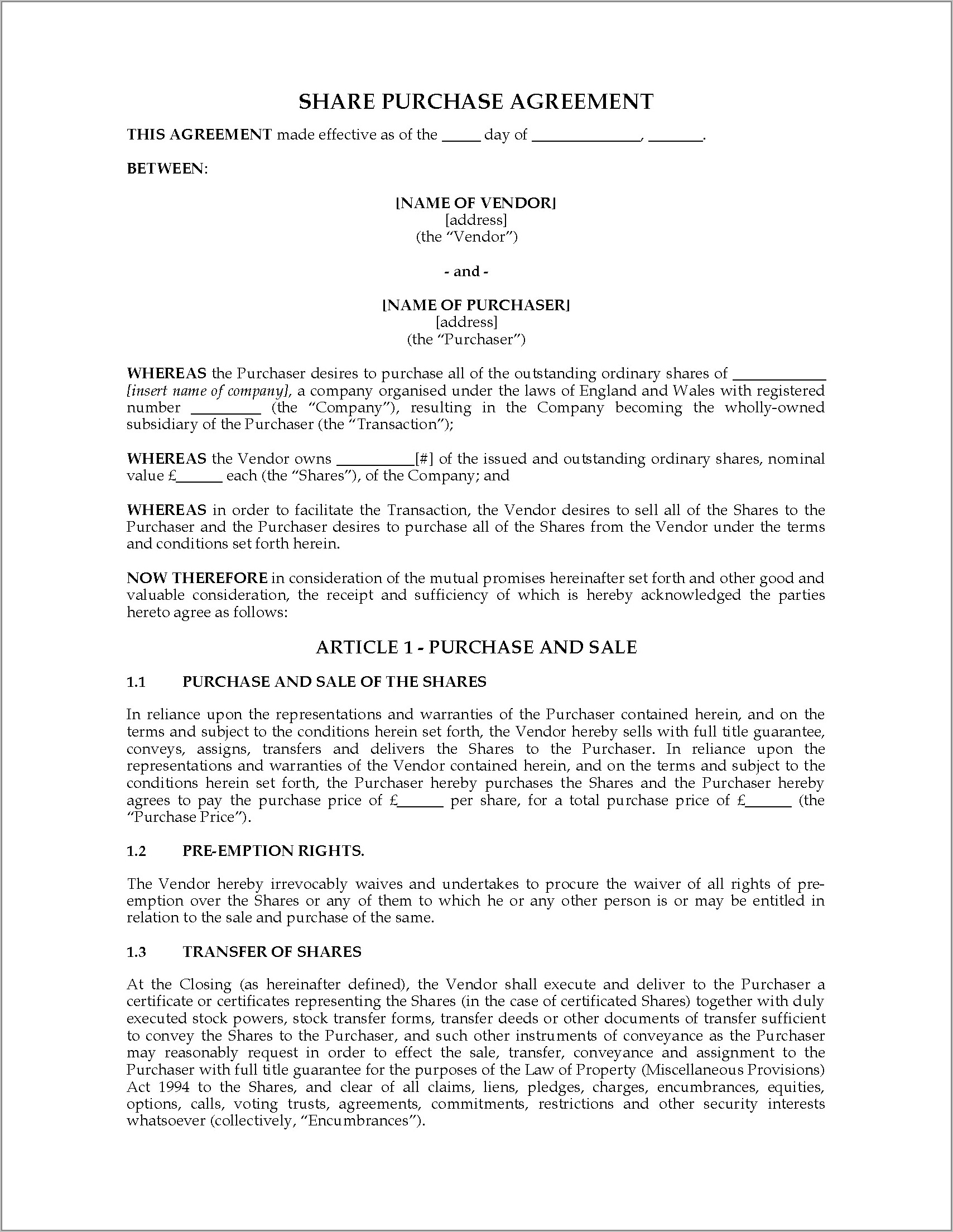 Stock Purchase Agreement Template Uk