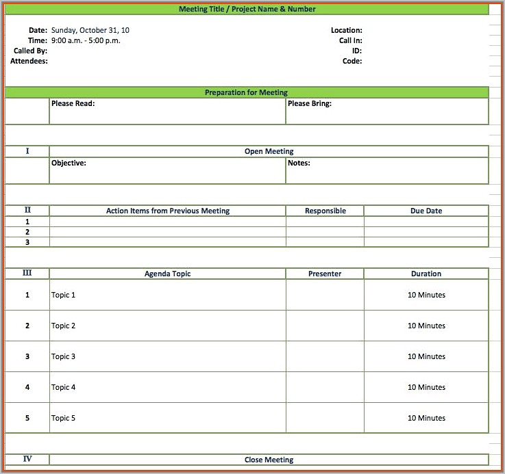 Student Council Meeting Minutes Template