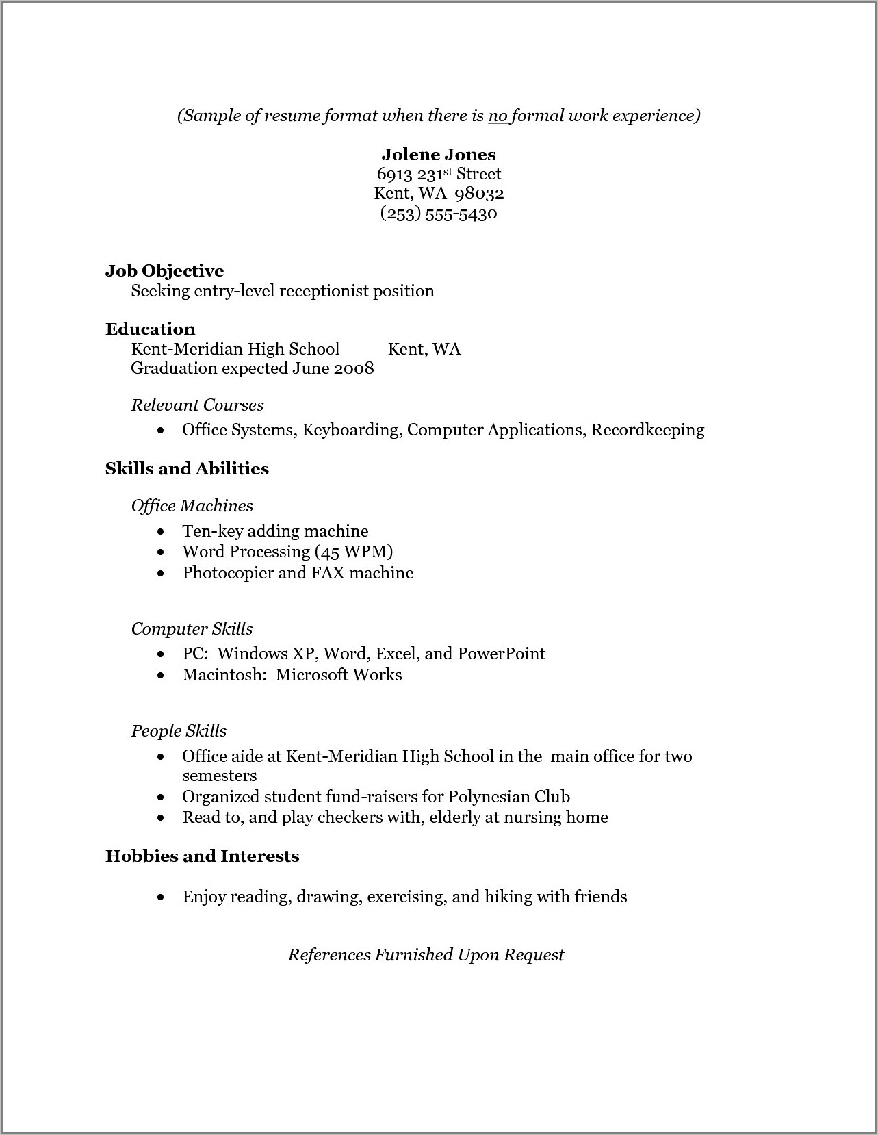 Student Resume No Work Experience Template