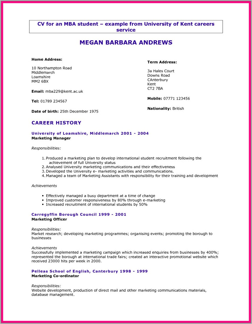 Student Resume Samples For College Applications