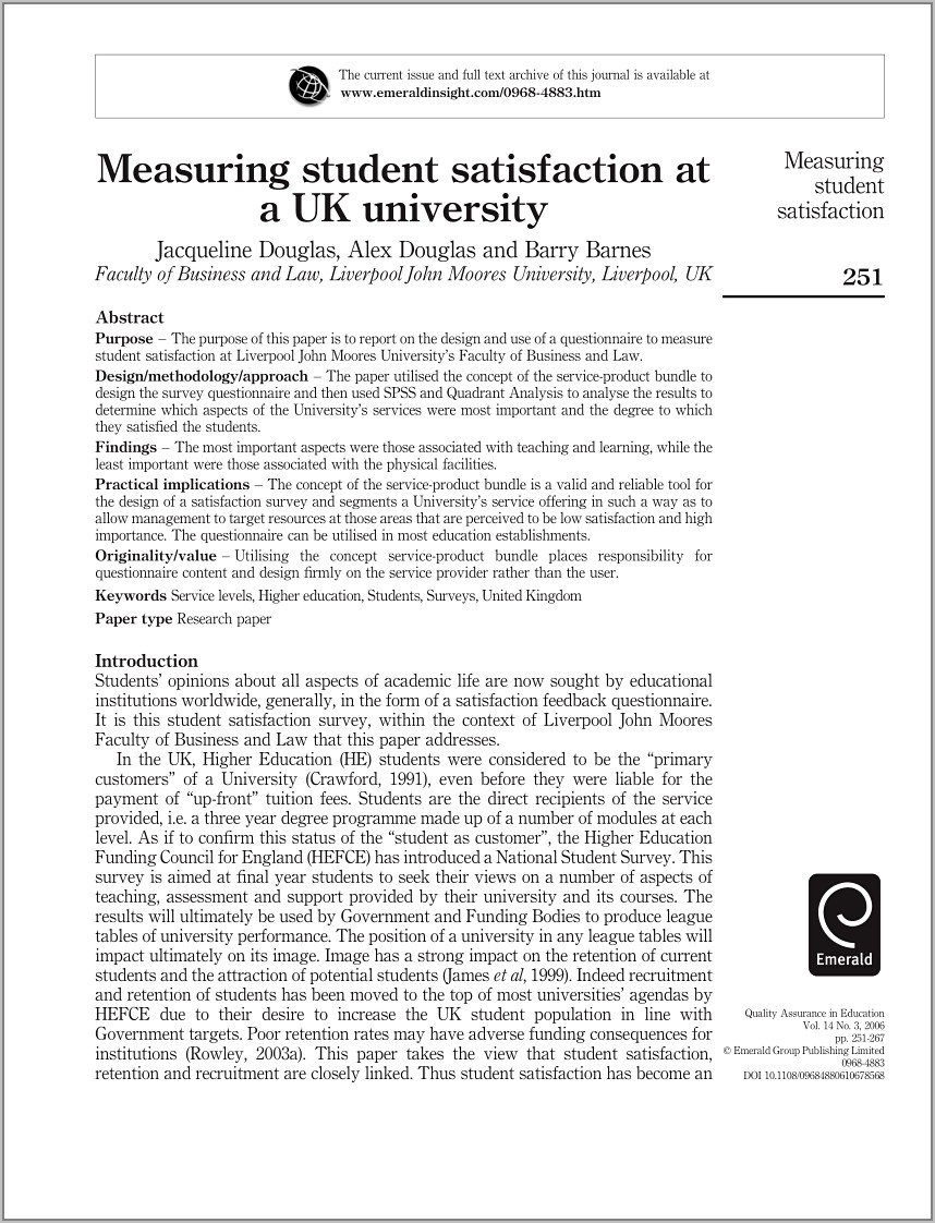 Student Satisfaction Questionnaire Samples