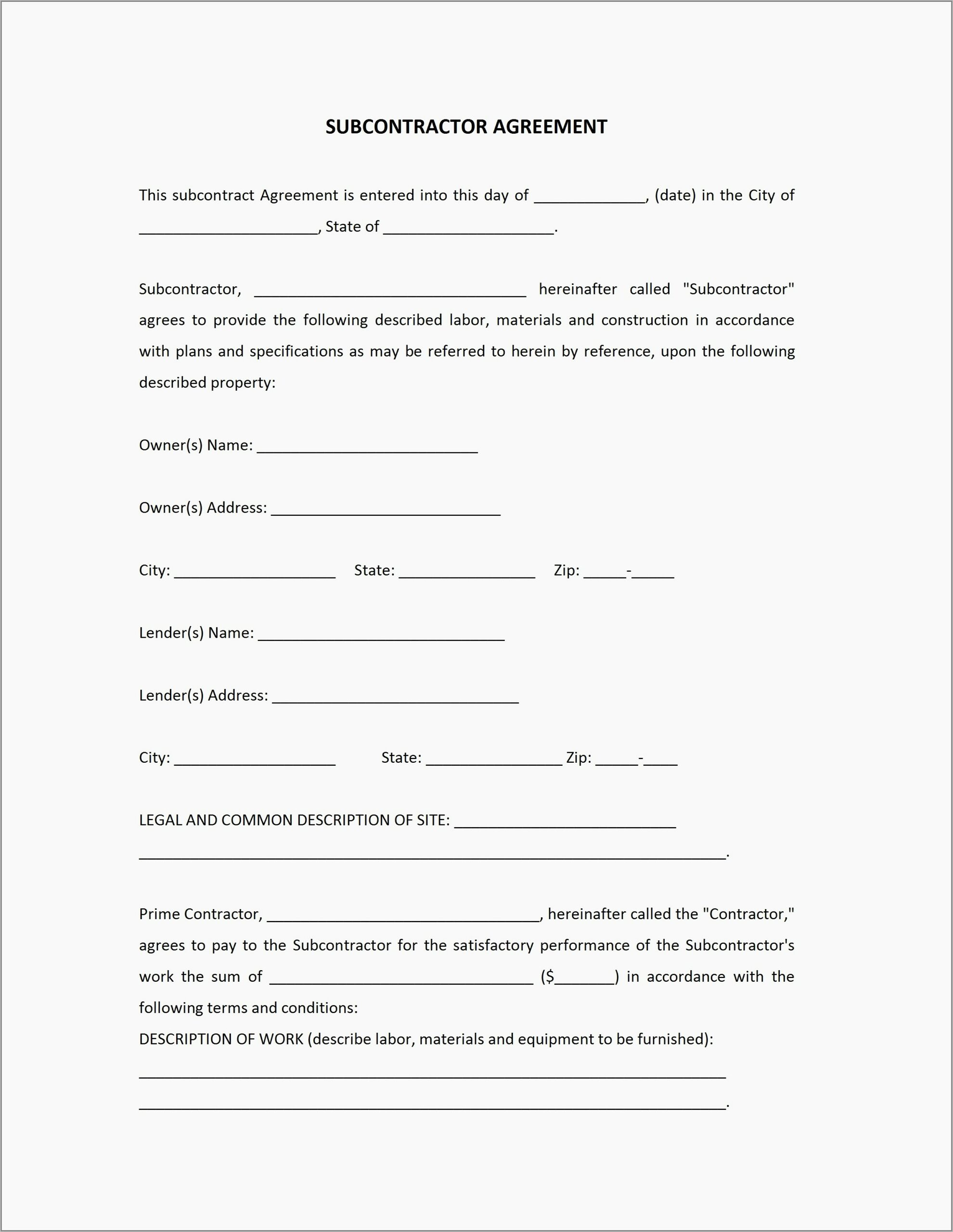 Subcontractor Agreement Template Uk Free