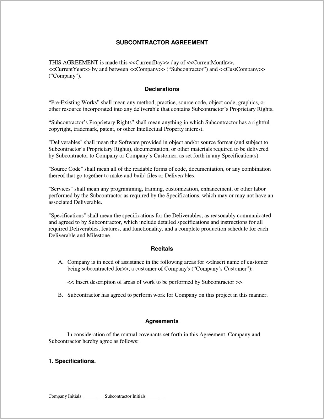 Subcontractor Contractor Agreement Form