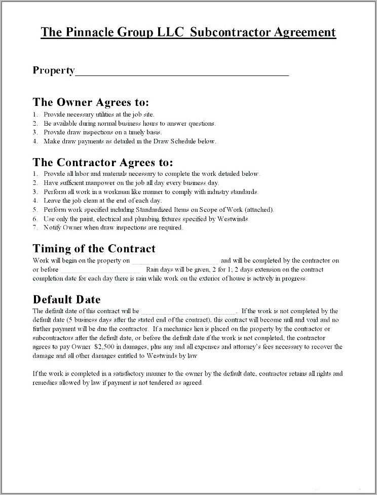 Subcontractor Contracts Templates Free Uk
