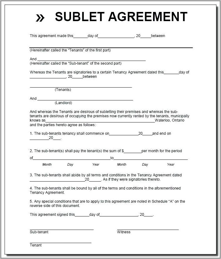 Sublet Agreement Form Ontario