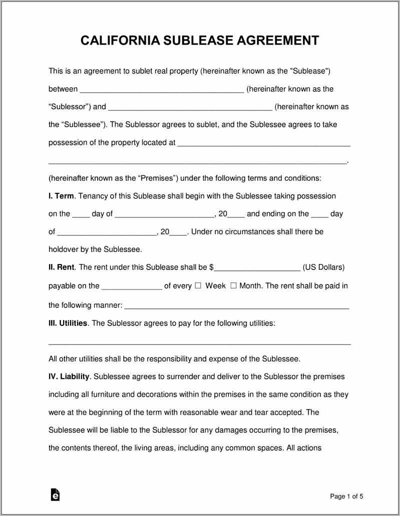 Sublet Agreement Template Ontario