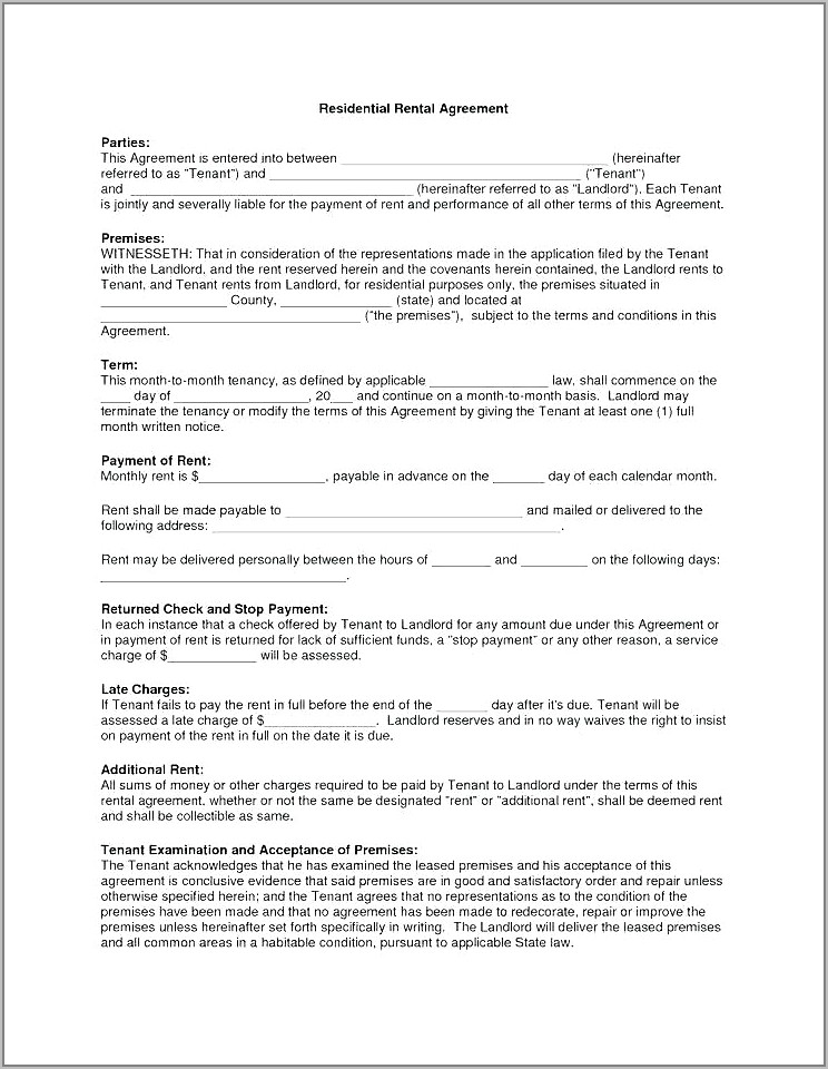 Subletting Contract Template Uk