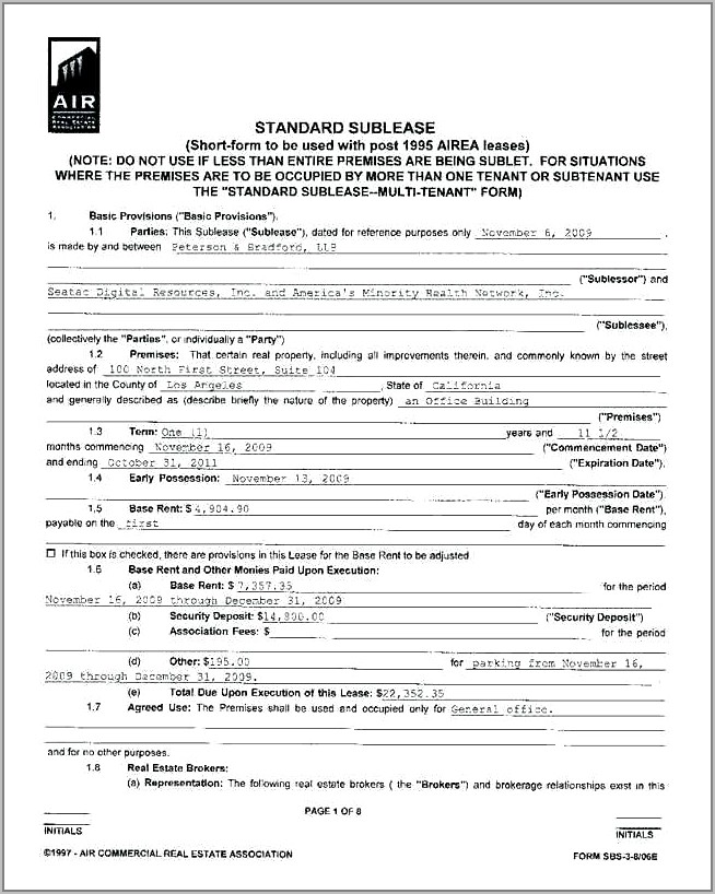 Subletting Tenancy Agreement Template